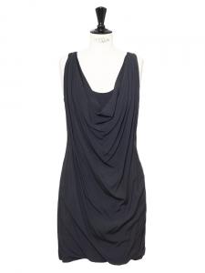 Robe sans manches décolleté drapé gris anthracite Px boutique 1200€ Taille S
