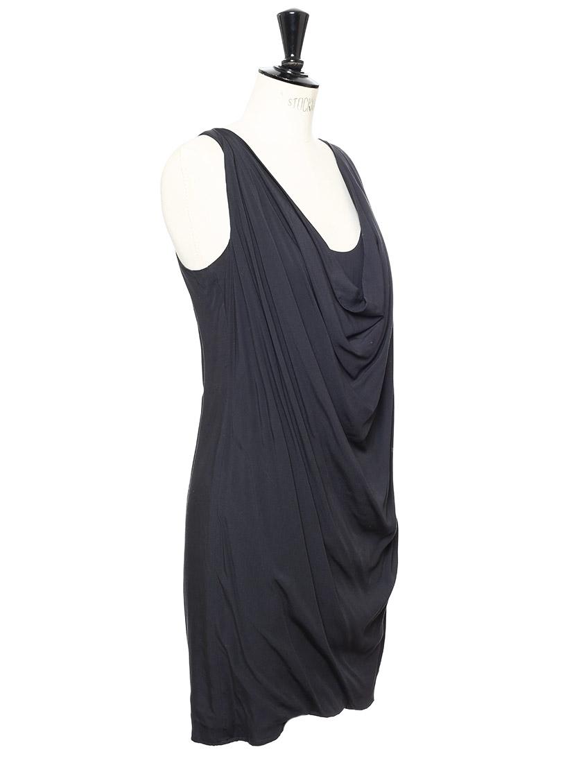 ... Robe sans manches décolleté drapé gris anthracite Px boutique 1200€  Taille S ... e73f23fa0ae