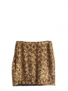 Mini-jupe brodée de sequins bronze doré Px boutique 160€ Taille 38