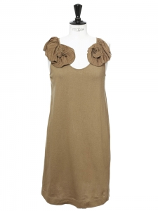 Khaki brown cotton shirt dress with silk-blend pleated ruffles Retail price €900 Size XS