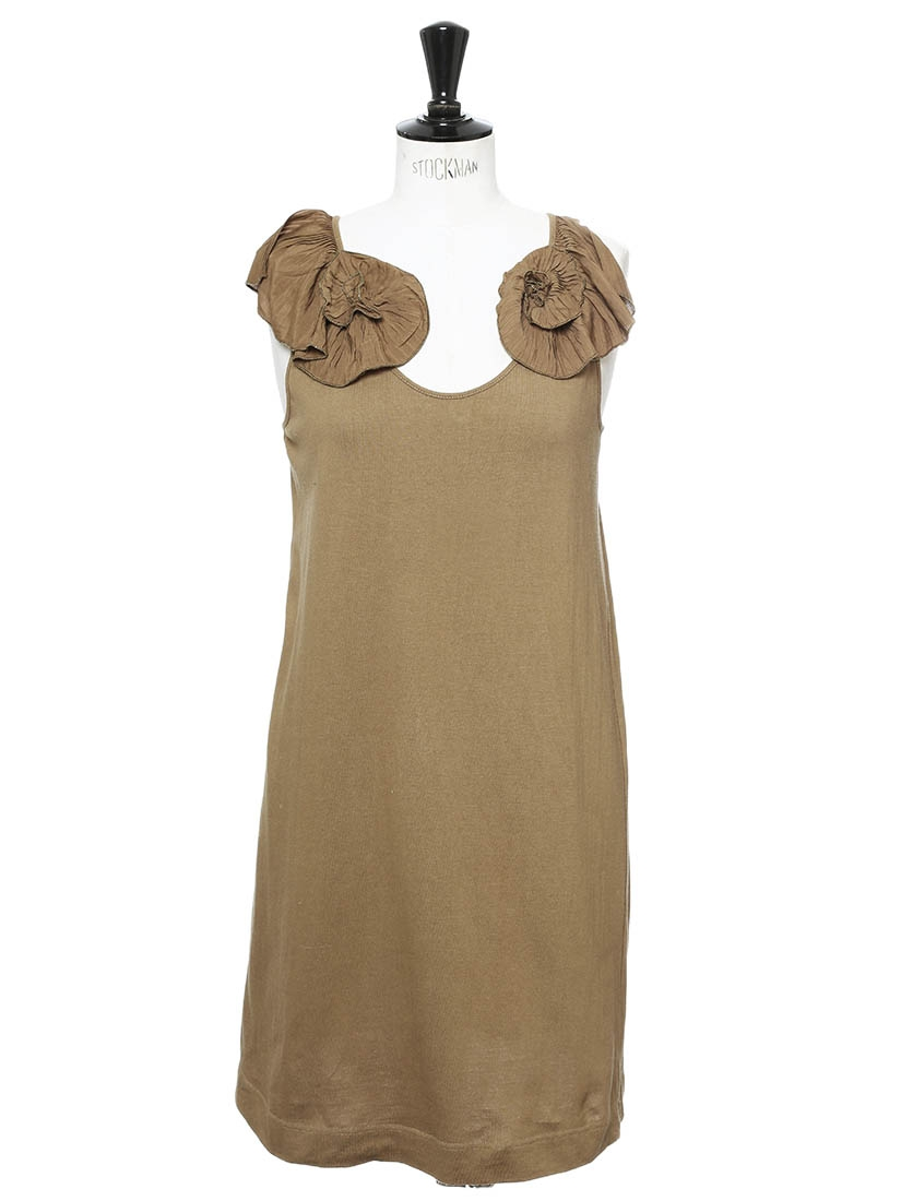 Louise Paris Chloe Khaki Brown Cotton Shirt Dress With