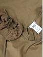 Robe sans manches en coton marron kaki et volants plissés en soie mélangée Px boutique 900€ Taille XS