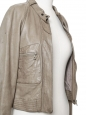 Veste en cuir d'agneau gris vert clair Px boutique 3000€ Taille 36