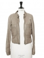Light khaki green lambskin leather biker jacket Retail price €3000 Size 36