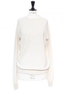 Pull col rond manches longues en cachemire crème Px boutique 350€ Taille M