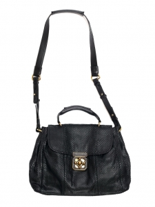 Large ELSIE Black snakeskin leather satchel bag Retail price €2600