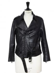 Veste blouson biker ELECTRA en cuir noir Px boutique 1000€ Taille S