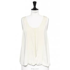Beige pleated silk cutout tank top Retail price €700 Size 38