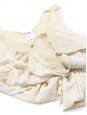 Top débardeur en crêpe de soie plissée et découpe beige écru Px boutique 700€ Taille 38