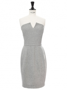 Light grey cotton strapless cocktail dress Retail price €1200 Size XS