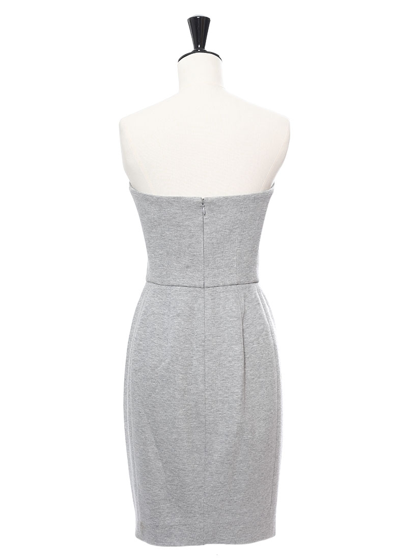 Louise paris yves saint laurent light grey cotton strapless light grey cotton strapless cocktail dress retail ombrellifo Choice Image