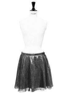Jupe en soie plissée gris métallisé Px boutique 95€ Taille 36