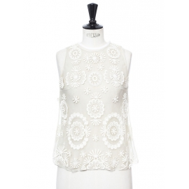 White silk organza embroidered sleeveless top Retail price €1200 Size 36