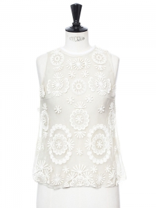 White cotton embroidered sleeveless top Retail price €600 Size 36
