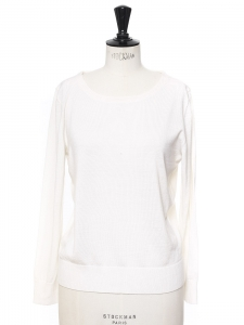 Pull fin col rond manches longues en laine blanc crème NEUF Px boutique 130€ Taille S