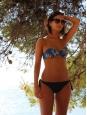 Haut de maillot de bain bandeau DONNIE imprimé tropical bleu, vert, blanc NEUF Px boutique 120€ Taille 34/36