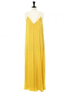 Robe longue bretelles fines dos décolleté jaune safran NEUVE Taille XS