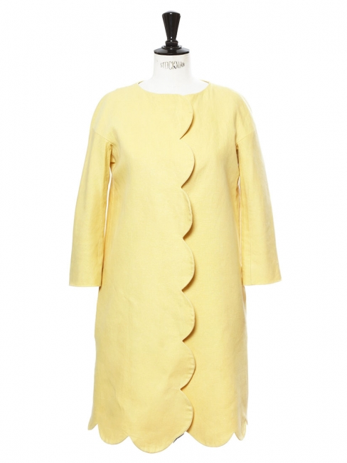 Sunny yellow linen touch mid-length jacket Retail price €1500 Size 36