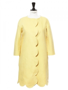 Manteau veste Scalloped mi-longue toucher lin jaune soleil Px boutique 1500€ Taille 36