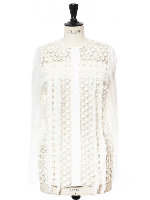 Top chemise en mousseline, franges et dentelle crochet blanc neige NEUVE Prix boutique 1030€