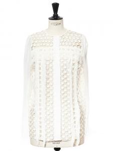 Blouse manches longues en mousseline, franges et dentelle crochet blanc neige NEUVE Px boutique 1200€ Taille 34/36