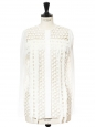 White cut-out fringed long sleeved blouse NEW Retail price €1200 Size XS