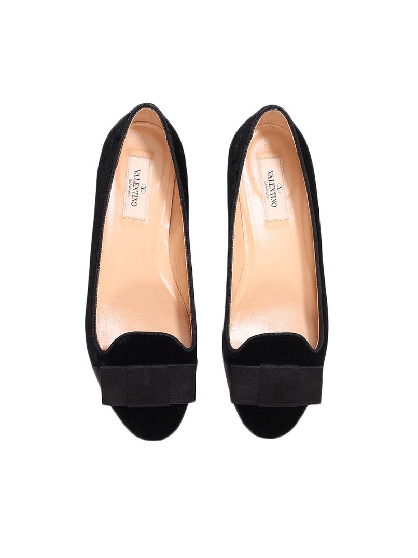 Louise Paris Valentino Black Velvet Tuxedo Slippers With