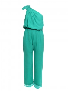 AMELIA Mint green silk one-shoulder jumpsuit Retail price €250 Size 38