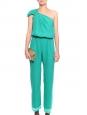 Combinaison asymétrique pantalon sarouel AMELIA en soie vert menthe Px boutique 250€ Taille 38