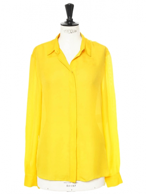 Gold yellow long sleeves shirt Retail price €450 Size 38
