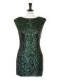 Emerald green sequin embroidered mini dress Retail price €450 Size M
