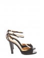 Anthracite grey suede leather ankle strap heeled sandals Retail price €500 Size 36.5