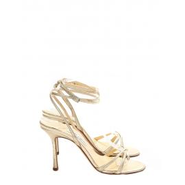 Sandales à talon JULIET en cuir irisé doré Prix boutique 450€ Taille 38,5