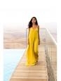 Robe longue bretelles fines dos décolleté jaune safran NEUVE Taille 34