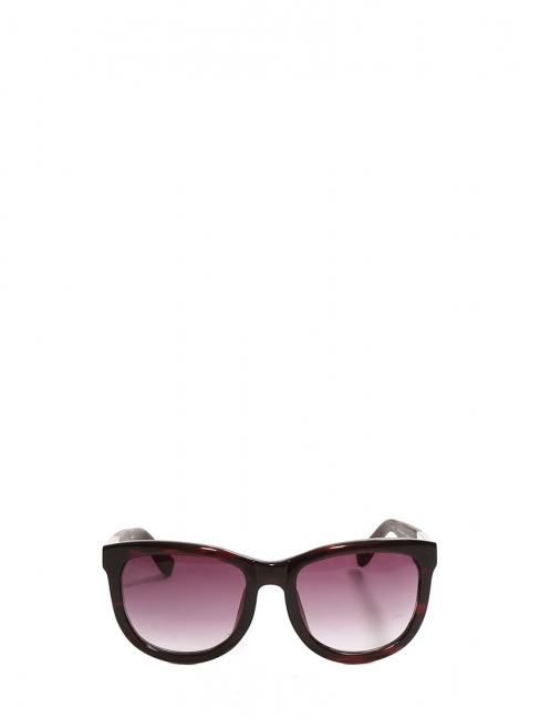 TEMPLE design burgundy acetate and leather oversize sunglasses Retail price €380