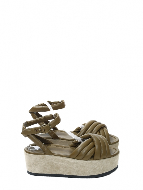 Khaki green leather HAYLEY ROWLAND platform wedge sandals NEW Retail price €640 Size 36