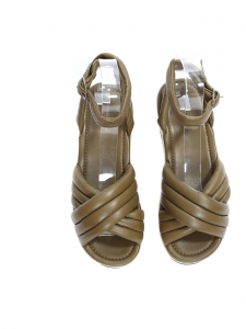Beige suede and khaki green leather HAYLEY ROWLAND platform wedge sandals NEW Retail price €640 Size 36