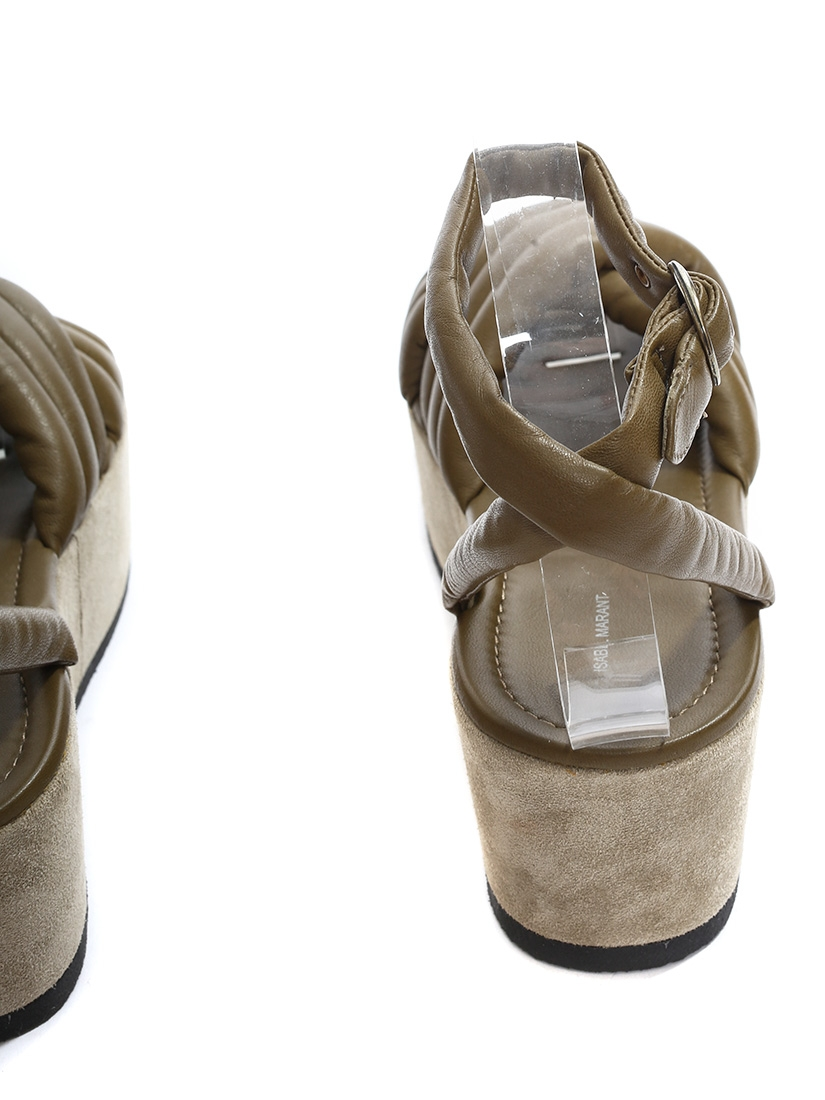 4e0ac583910 Beige suede and khaki green leather HAYLEY ROWLAND platform wedge sandals  NEW Retail price €640