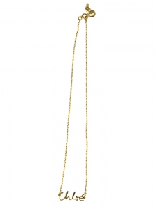 Gold brass chain necklace with a Chloe name pendant