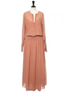 Robe longue en mousseline et smocks rose blush Px boutique 570€ Taille 36