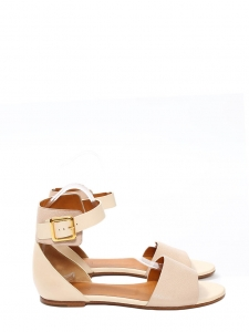 Pale pink and nude leather LAZISE flat sandals NEW Retail price €475 Size 36.5