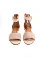 Sandales plates LAZISE en cuir beige et rose poudre NEUVES Px boutique 475€ Taille 36,5