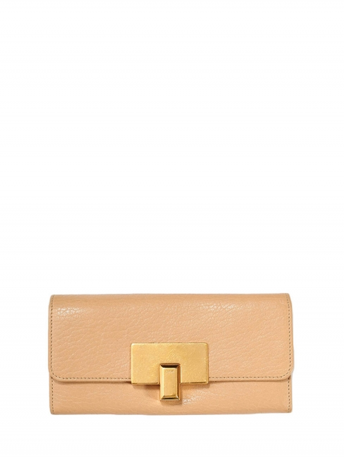 Beige pink leather fold over continental wallet Retail price €350