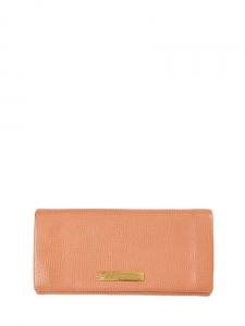Clutch portefeuille long fold-over en cuir grainé rose glacé Px boutique 360€