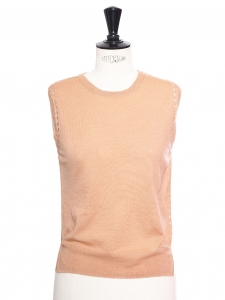 Peach pink merino wool eyelet sleeveless top Retail price €600 Size S