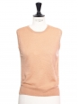 Peach pink merino wool eyelet sleeveless top Retail price €600 Size S