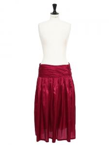 Jupe longue en satin de soie et coton rose lie-de-vin Px boutique 350€ Taille 38