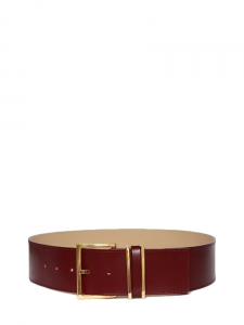 Burgundy red leather large belt with gold-tone buckle NEW Retail price €150 Size S