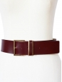 Ceinture large en cuir rouge bordeaux et boucle dorée NEUVE Px boutique 150€ Taille S