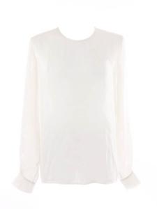 Ivory white silk round neck long sleeves shirt blouse Retail price €500 Size 38